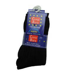 144 Bulk Boys Nylon Dress Socks, Boys Uniform Socks, Solid Black Size S