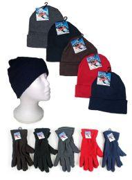 120 Bulk Adult Cuffed Knit Hats And Women's Fleece Gloves Combo Packs