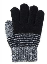 72 Bulk Kids Winter Striped Gloves