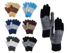144 Bulk Big Kids Winter Two Tone Pattern Gloves With Fur Inside