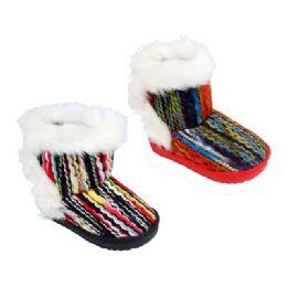 36 Bulk Kid's Colorful Fur Boots