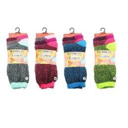 36 Bulk Ladies Thermal Crew Socks 9-11 [assorted]