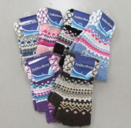 72 Bulk Ladies Half Finger Glove