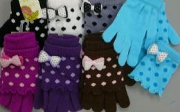 180 Bulk Ladies Glove 2 In 1 With Dot Print And Bow