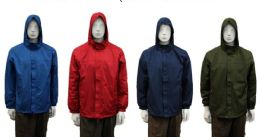 24 Bulk Men's Wind Breaker Jacket - (assorted Colors)