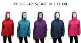 24 Bulk Ladies Wind Breaker Jacket - (assorted Colors)