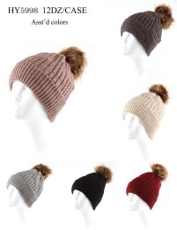 24 Bulk Woman's Heavy Knit Winter Pom Pom Hat (assorted Colors)