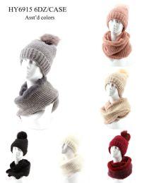 36 Bulk Womans Heavy Knit Winter Pom Pom Hat And Plush Knit Scarf Fleece Lined