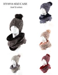 24 Bulk Womans Heavy Knit Winter Pom Pom Hat And Plush Knit Scarf With Plush Lined