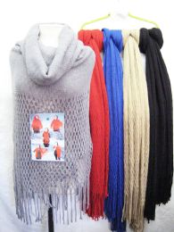 24 Bulk Womens Fashion Knitted Scarf In Assorted Colors