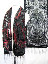 24 Bulk Womens Fashion Printed Scarf With Fringes