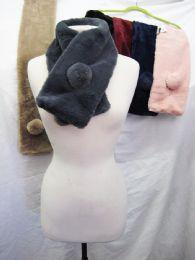 36 Bulk Womens Fashion Fur Scarf With Pom Pom