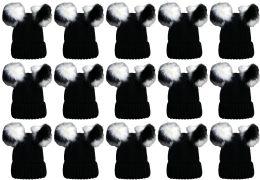 24 Bulk Double Pom Pom Ribbed Winter Beanie Hat, Multi Color Pom Pom Solid Black