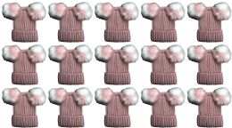 24 Bulk Double Pom Pom Ribbed Winter Beanie Hat, Multi Color Pom Pom Solid Pink