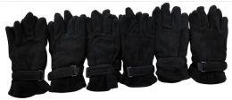 36 Bulk Mens Black Fleece Winter Gloves