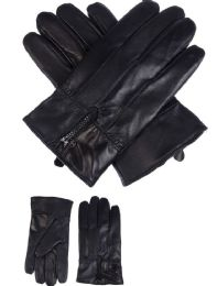 36 Bulk Mens Leather Winter Gloves With Zipper Design