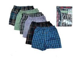 72 Bulk Men Woven Boxer Shorts With Button
