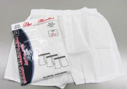 72 Bulk Men White Woven Boxer Shorts