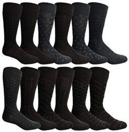 12 Bulk Yacht & Smith Mens Fashion Designer Dress Socks, Cotton Blend Assorted
