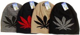 36 Bulk Fleece Lining Marijuana Leaf Ski Hat