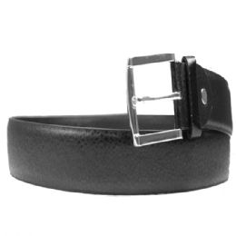 36 Bulk Mens Belt In Black Pebbled
