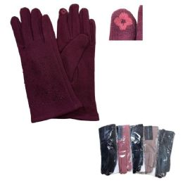 24 Bulk Women's Rhinestone PlusH-Lined Touch Screen Gloves