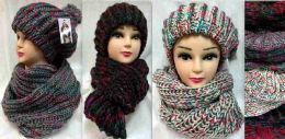 24 Bulk Knitted Winter Hat And Scarf Set Assorted