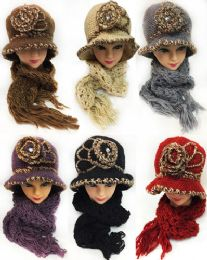 24 Bulk Winter Knitted Lady Hat And Scarf Set Assorted Colors