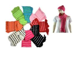 72 Bulk Cozy Scarf Hat Set With Knitted Design