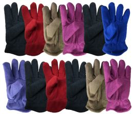 12 Bulk Yacht & Smith Kids Warm Winter Colorful Fleece Gloves Assorted Colors