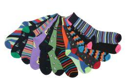 60 Bulk Mens Funky Printed Dress Socks, Mixed Patterns