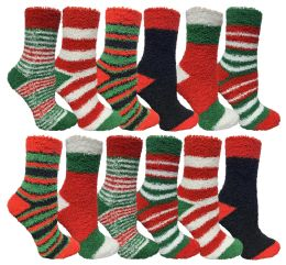 12 Bulk Yacht & Smith Christmas Fuzzy Socks , Soft Warm Cozy Socks, Size 9-11