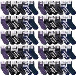 60 Bulk Yacht & Smith Men's Warm Cozy Fuzzy Socks, Stripe Pattern Size 10-13