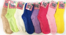 60 Bulk Solid Color Ladies' Fuzzy Socks With Anti Skid Assorted