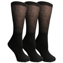 3 Bulk Yacht & Smith Women's Cotton Diabetic NoN-Binding Crew Socks Size 9-11 Black