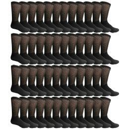 48 Bulk Yacht & Smith Men's Loose Fit NoN-Binding Soft Cotton Diabetic Crew Socks Size 10-13 Black