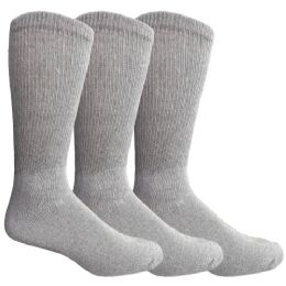 3 Bulk Yacht & Smith Men's King Size Loose Fit NoN-Binding Cotton Diabetic Crew Socks Gray Size 13-16