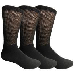 3 Bulk Yacht & Smith Men's King Size Loose Fit NoN-Binding Cotton Diabetic Crew Socks Black Size 13-16