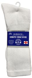 36 Bulk Yacht & Smith Men's King Size Loose Fit NoN-Binding Cotton Diabetic Crew Socks White Size 13-16