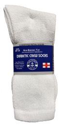 24 Bulk Yacht & Smith Men's Loose Fit NoN-Binding Soft Cotton Diabetic Crew Socks Size 10-13 White Bulk Pack