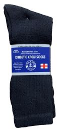 36 Bulk Yacht & Smith Men's King Size Loose Fit NoN-Binding Cotton Diabetic Crew Socks Black Size 13-16