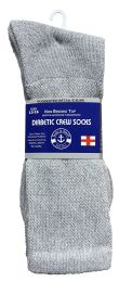 36 Bulk Yacht & Smith Men's King Size Loose Fit NoN-Binding Cotton Diabetic Crew Socks Gray Size 13-16