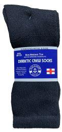 36 Bulk Yacht & Smith Men's Loose Fit NoN-Binding Soft Cotton Diabetic Crew Socks Size 10-13 Black