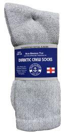 36 Bulk Yacht & Smith Men's Loose Fit NoN-Binding Soft Cotton Diabetic Crew Socks Size 10-13 Gray