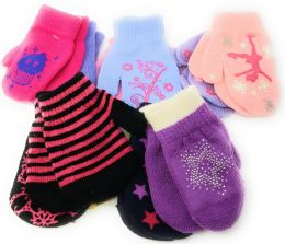 72 Bulk Colorful Cute Toddlers Assorted Mittens 2-Pack