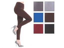 36 Bulk Fleece Women's Assorted Color Leggings One Size Fits All