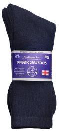 3 Bulk Yacht & Smith Men's Loose Fit NoN-Binding Soft Cotton Diabetic Crew Socks Size 10-13 Navy