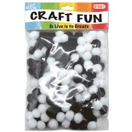 144 Bulk Two Hundred Count Pom Pom Black And White