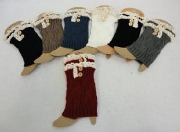 12 Bulk Knitted Boot Cuffs With Antique Lace [2 Buttons]