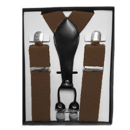 12 Bulk Solid Brown Suspenders